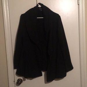Black soft material pea coat/cardigan